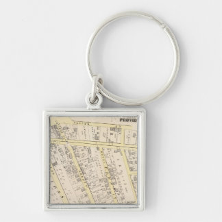 Providence Rhode Island Map 2 Silver-Colored Square Keychain