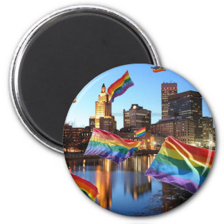 Providence, RI Flying Pride 2 Inch Round Magnet