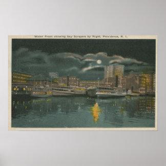 Providence, RI - opinión de la noche de la ciudad  Posters