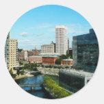 Providence RI Skyline Round Sticker