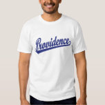 Providence script logo in blue t shirt