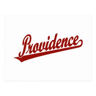 Providence script logo in red postcard