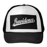 Providence script logo in white distressed trucker hat