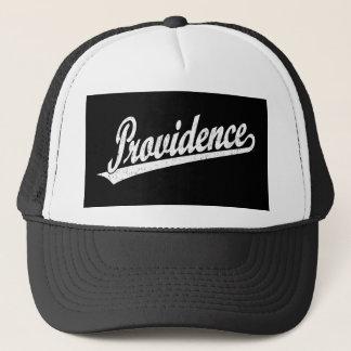 Providence script logo in white distressed trucker hat