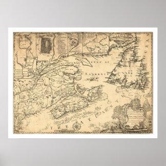 Province of Nova Scotia Canada Map 1776 Poster