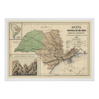 Province of Sao Paulo Brazil Map 1886 Poster