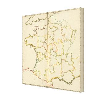 Provinces, France Outline Canvas Print