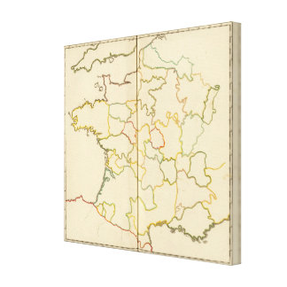 Provinces, France Outline Canvas Prints
