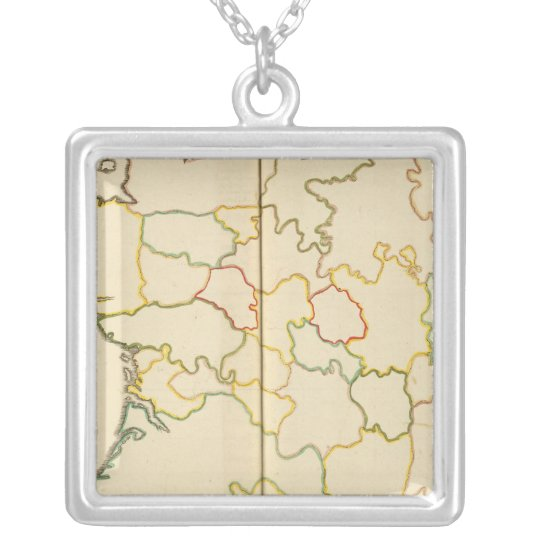 Provinces, France Outline Silver Plated Necklace