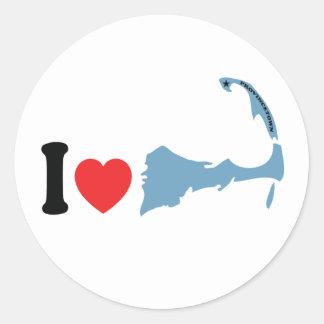 """Provincetown """"amo"""" diseño pegatina redonda"""