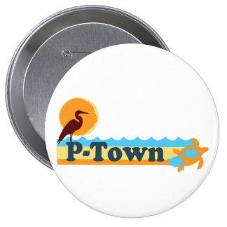 """Provincetown """"Beach"""" Design. 4 Inch Round Button"""