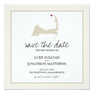 """Provincetown Cape Cod que casa reserva la fecha Invitación 5.25"""" X 5.25"""""""