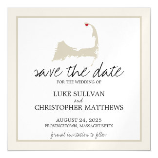 Provincetown Cape Cod que casa reserva la fecha Invitaciones Magnéticas
