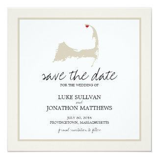 "Provincetown Cape Cod Wedding Save the Date 5.25"" Square Invitation Card"