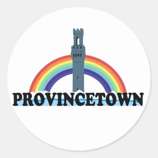 "Provincetown ""Lighthouse"" Design. Classic Round Sticker"