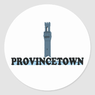 "Provincetown ""Lighthouse"" Design. Classic Round Sticker"