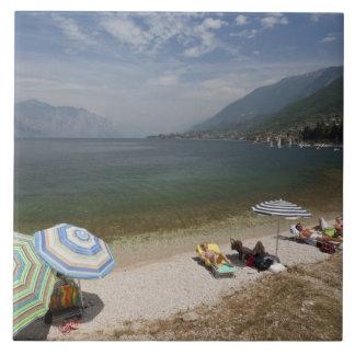 Provincia de Italia, Verona, Brenzone. Lago Garda Azulejo Cuadrado Grande