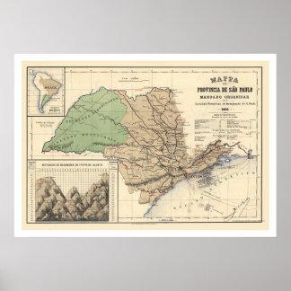 Provincia del mapa 1886 de Sao Paulo el Brasil Impresiones