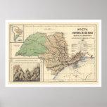 Provincia del mapa 1886 de Sao Paulo el Brasil Póster