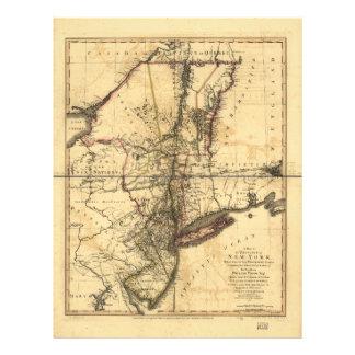 Provincia del mapa de Nueva York y de New Jersey Membrete
