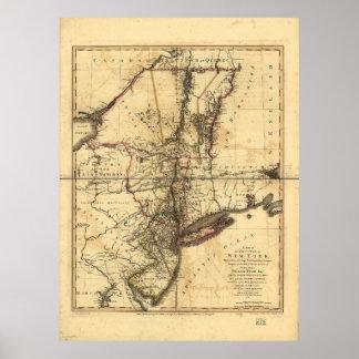 Provincia del mapa de Nueva York y de New Jersey Póster