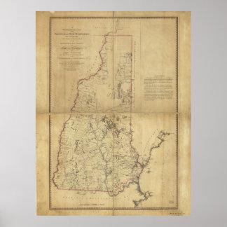 Provincia del mapa topográfico de New Hampshire Póster