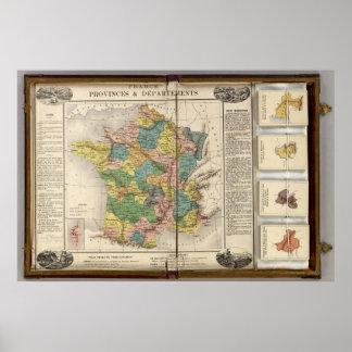 Provincias y departamentos de Francia Póster