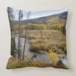 Provo River and aspen trees 5 Throw Pillow