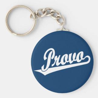 Provo script logo in white keychain