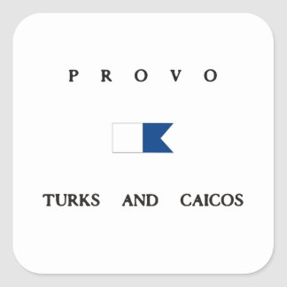 Provo Turks and Caicos Alpha Dive Flag Square Stickers