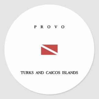"Provo ""Turks and Caicos"" Islands Scuba Dive Flag Classic Round Sticker"