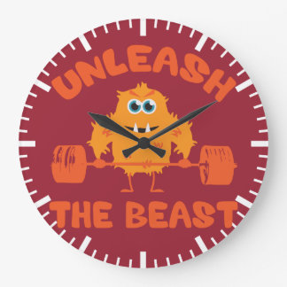 Provoque la motivación del gimnasio de la bestia reloj redondo grande