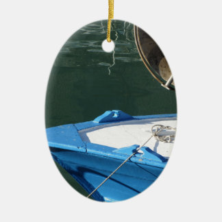 Prow of a wooden fishing boat with trawl winch ceramic ornament
