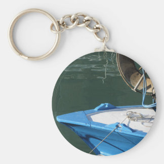 Prow of a wooden fishing boat with trawl winch keychain