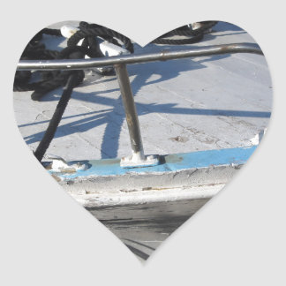 Prow of fishing boat moored in the harbor heart sticker