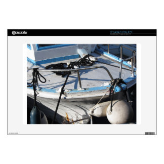 Prow of fishing boat moored in the harbor laptop decal