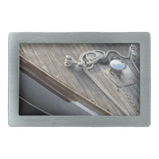 Prow of sailboat moored in the harbor rectangular belt buckle