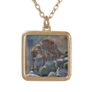 Prowling Cougar Mountain Lion Art Design Gold Plated Necklace