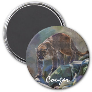 Prowling Cougar Mountain Lion Art Design Magnet