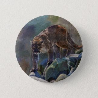 Prowling Cougar Mountain Lion Art Design Pinback Button