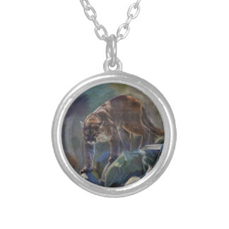 Prowling Cougar Mountain Lion Art Design Silver Plated Necklace