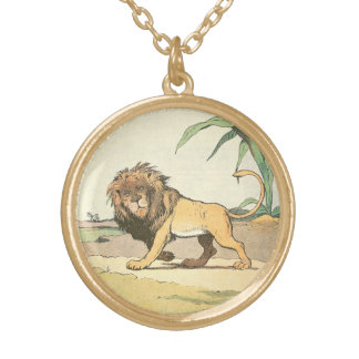 Prowling Jungle Lion Illustrated Gold Plated Necklace