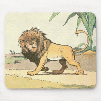 Prowling Jungle Lion Illustrated Mouse Pad