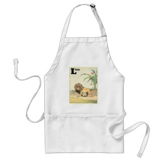 Prowling Lion Story Book Adult Apron