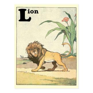 Prowling Lion Story Book Alphabet Postcard