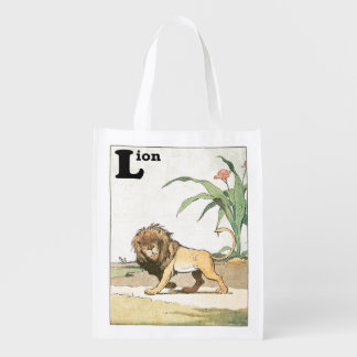 Prowling Lion Story Book Grocery Bag