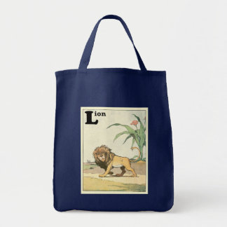 Prowling Lion Story Book Tote Bag
