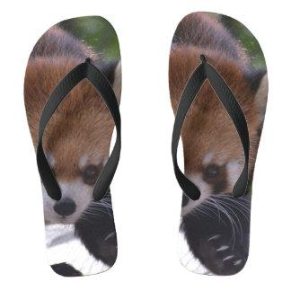 Prowling Red Panda Flip Flops