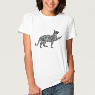 Prowling stray cat sketch black 02 tees