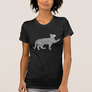 Prowling stray cat sketch white 02 tee shirt